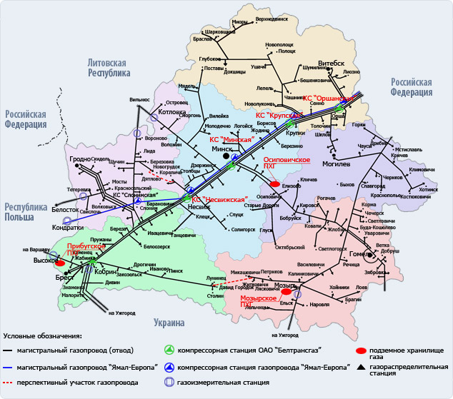 Схема магистральных газопроводов на территории Республики Беларусь